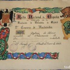 Documentos antiguos: DIPLOMA DE HONOR - ASOCIACIÓN DE BELENISTAS DE MADRID - II CONCURSO - RADIO NACIONAL ESPAÑA (1945). Lote 143007358
