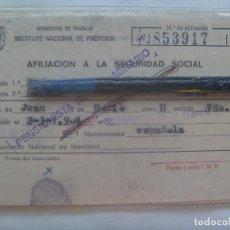 Documentos antiguos: MINISTERIO NACIONAL DE PREVISION : CARNET SEGURIDAD SOCIAL , ETC . SEVILLA, AÑOS 70. Lote 143074698