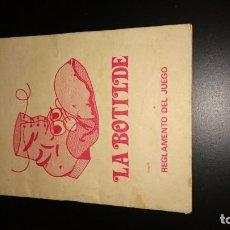 Documentos antiguos: INSTRUCCIONES JUEGO DE LA BOTILLO. PROGRAMA UN, DOS, TRES. AÑOS 80. Lote 143157522