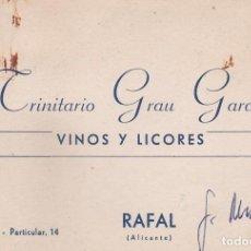 Documentos antiguos: TARJETA COMERCIAL DE VISITA. TRINITARIO GRAU GARCIA. VINOS Y LICORES. RAFAL (ALICANTE). Lote 143221590