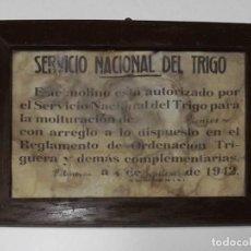 Documentos antiguos: AUTORIZACIÓN MOLINO 1942. DOCUMENTO ÚNICO. ENMARCADO Y CON CRISTAL. Lote 143341014