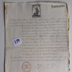 Documentos antiguos: ESCRITURA CERTIFICADO DE BAUTISMO EN ANTEQUERA , MÁLAGA , AÑO 1872. Lote 144093222