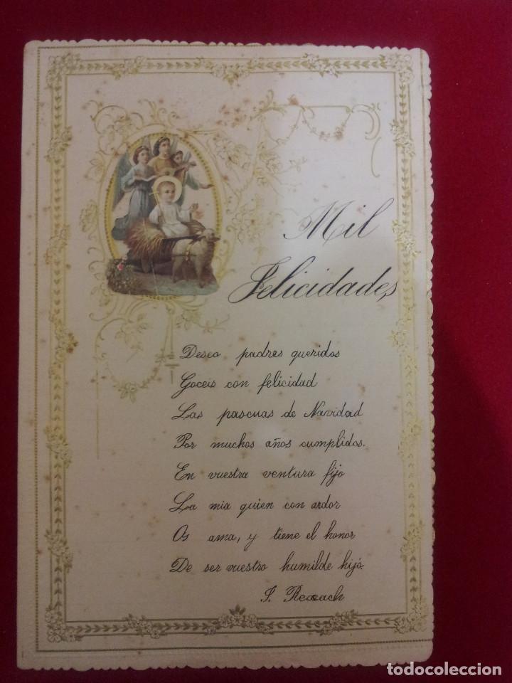 Documentos antiguos: AB-51.- LOTE DE -- 16 -- CARTAS DE FELICITACION MUCHAS CON RECORTABLES , VER FOTOS DE TODAS - Foto 6 - 144150578