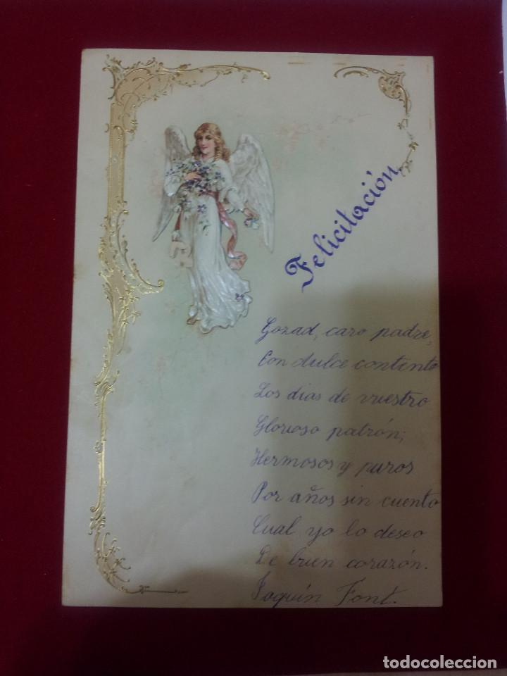 Documentos antiguos: AB-51.- LOTE DE -- 16 -- CARTAS DE FELICITACION MUCHAS CON RECORTABLES , VER FOTOS DE TODAS - Foto 15 - 144150578