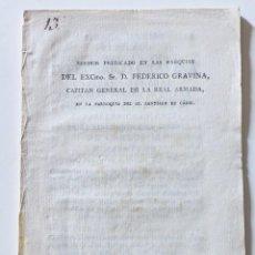 Documentos antiguos: FEDERICO GRAVINA, CAPITAN GENERAL DE LA REAL ARMADA. SERMÓN FÚNEBRE. CADIZ 1806. Lote 144386938