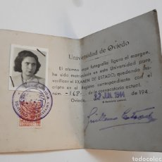 Documentos antiguos: CARNET DE LA UNIVERSIDAD DE OVIEDO. 1944. Lote 144409412