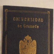 Documentos antiguos: CARNET IDENTIDAD ESCOLAR.UNIVERSIDAD DEL GRANADA.ENRIQUE INFANTE MILLARES.GRANADA 1939. Lote 144511714