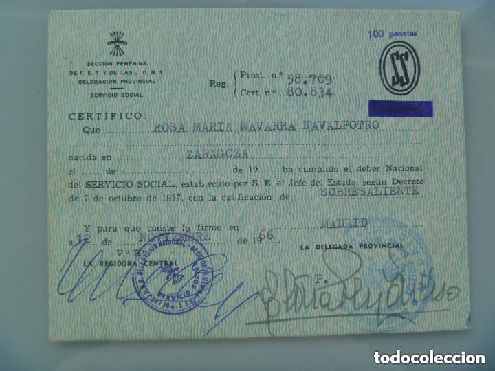 SECCION FEMENINA FALANGE : CERTIFICADO DEL SERVICIO SOCIAL DE LA MUJER . ZARAGOZA, 1966 (Coleccionismo - Documentos - Otros documentos)