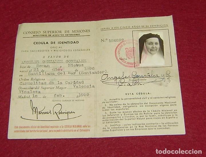 CÉDULA DE IDENTIDAD OFICIAL PARA SACERDOTES Y RELIGIOSOS ESPAÑOLES 1959. (Coleccionismo - Documentos - Otros documentos)