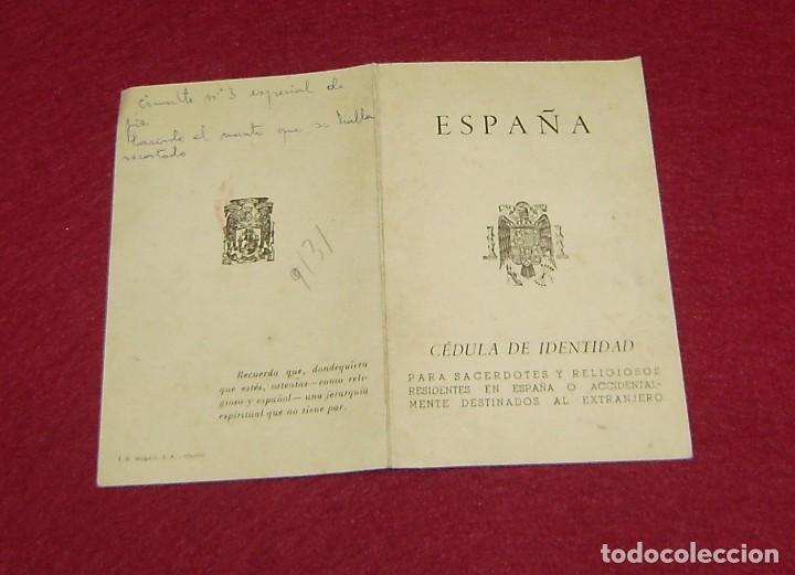 Documentos antiguos: Cédula de Identidad oficial para sacerdotes y religiosos españoles 1959. - Foto 2 - 144630890