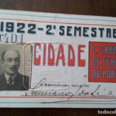 Documentos antiguos: CARNET FERROCARRIL OPORTO. 1922.. Lote 144649858