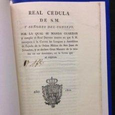Documentos antiguos: REAL CEDULA INCORPORA LENGUAS Y ASAMBLEAS DE ESPAÑA DE LA ORDEN MILITAR SAN JUAN DE JERUSALEN, 1802. Lote 144693906