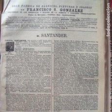 Documentos antiguos: SANTANDER.-ANUARIO DEL COMERCIO.-INDUSTRIA.-COMERCIO.-TIENDAS.-MADRID.-BAILLY-BAILLIERE.-AÑO 1905.. Lote 144767186