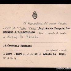 Documentos antiguos: C16-4TARJETA INVITACION AL COCKTAIL DANZANTE DEL COMANDANTE DEL BUQUE ESCUELA A.R.A. BAHIA DE THETIS. Lote 144952226