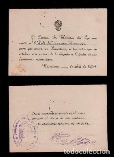 C16-4 TARJETA INVITACION DEL EXCMO. SR. MINISTRO DEL EJERCITO A LA SRTA Mª LUISA ASENSI PARA ASISTI (Coleccionismo - Documentos - Otros documentos)