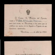 Documentos antiguos: C16-4 TARJETA INVITACION DEL EXCMO. SR. MINISTRO DEL EJERCITO A LA SRTA Mª LUISA ASENSI PARA ASISTI. Lote 144953978