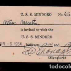 Documentos antiguos: C16-4 INVITACION PERSONAL A MISS MARTIN PARA VISITAR EL U.S.S. MINDORO JUN - 15 - 1954. Lote 144954378