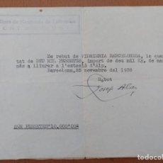 Documentos antiguos: RECIBO VIDRIERIA BARCELONESA ESTACION ALP MINES DE MAGNANES CNT/UGT 1938 GUERRA CIVIL CONTROL OBRER. Lote 144967742