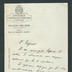 Documentos antiguos: CARTA DR. MARTINEZ GARCIA DIRECTOR MEDICO AÑO 1936 DOCTOR FIRMADA HOSPITAL SANTA CREU I SANT PAU. Lote 145119898