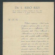 Documentos antiguos: CARTA DR. L RIBO RIUS MEDICO AÑO 1929 DOCTOR BARCELONA . Lote 145124198
