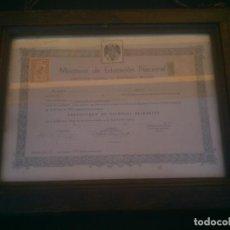Documentos antiguos: 1950, CERTIFICADO DE ESTUDIOS PRIMARIOS, CON MARCO DE ÉPOCA. Lote 145213478