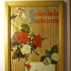 Documentos antiguos: RECUERDO DE NACIMIENTO CON MARCO VINTAGE. Lote 145432022
