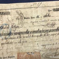 Documentos antiguos: 1878. CUBA. ESCLAVOS NEGROS. PAGARÉ INGENIO SANTA ANA. 354 PESOS Y 60 CENTAVOS ORO. Lote 145642218