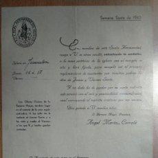Documentos antiguos: REAL HERMANDAD DE ZARAGOZA SEMANA SANTA 1943. Lote 145733318