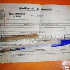 Documentos antiguos: BILBAO NOTIFICACIÓN DE DENUNCIA 1977 EL DOCUMENTO ESTA ARRUGADO. Lote 145881106