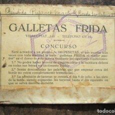 Documentos antiguos: PRIMER PREMIO GALLETAS FRIDA AÑOS 20 CONCURSO ESCRIBIR MUY PEQUEÑO 100 PESETAS. Lote 146072530
