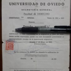 Documentos antiguos: UNIVERSIDAD DE OVIEDO. SECRETARIA GENERAL. FACULTAD DE DERECHO. 1955. Lote 146184778