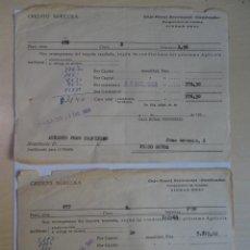 Documentos antiguos: LOTE DE 2 DOCUMENTOS RECIBOS CRÉDITO AGRÍCOLA, VER FOTOS. Lote 146521302