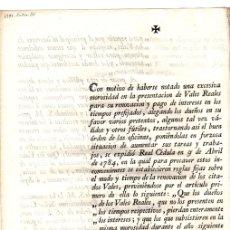 Documentos antiguos: RESOLUCION POR HABERSE NOTADO EXCESIVA MOROSIDAD EN LA PRESENTACION DE VALES REALES. AÑO 1791. Lote 146527557
