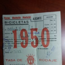 Documentos antiguos: CASTALLA ALICANTE ,BICICLETA IMPUESTO 1950. Lote 146613389