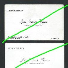 Documentos antiguos: 2 TARJETAS DE VISITA. PRODUCTOS EVA. JOSÉ INIESTA FRANCO. REPRESENTACIONES. P.º DE CORVERA. MURCIA.. Lote 147080334