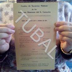 Documentos antiguos: TUBAL SOCORROS MUTUOS SAGRADO CORAZON DIPTICO 24 CM . Lote 147191498