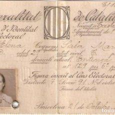 Documentos antiguos: BARCELONA 1935 GENERALITAT DE CATALUNYA. TARJA D'IDENTITAT ELECTORAL (CARNET ELECTORAL).. Lote 147373466