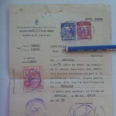 Documentos antiguos: SECCION FEMENINA FALANGE : CERTIFICADO DEL SERVICIO SOCIAL DE LA MUJER . SEVILLA, 1959. VIÑETAS. Lote 147539706