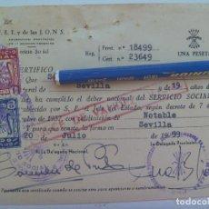 Documentos antiguos: SECCION FEMENINA FALANGE : CERTIFICADO DEL SERVICIO SOCIAL DE LA MUJER . SEVILLA, 1959. VIÑETAS. Lote 147541566