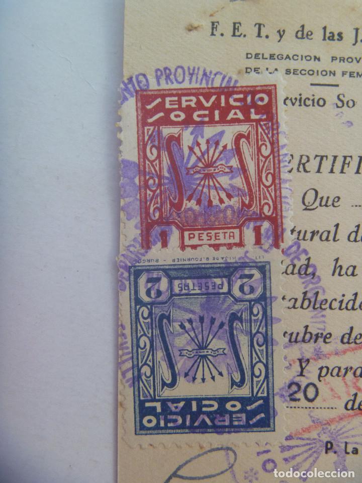 Documentos antiguos: SECCION FEMENINA FALANGE : CERTIFICADO DEL SERVICIO SOCIAL DE LA MUJER . SEVILLA, 1959. VIÑETAS - Foto 2 - 147541566