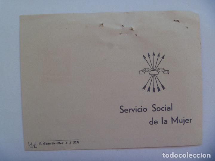Documentos antiguos: SECCION FEMENINA FALANGE : CERTIFICADO DEL SERVICIO SOCIAL DE LA MUJER . SEVILLA, 1959. VIÑETAS - Foto 3 - 147541566