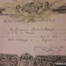 Documentos antiguos: ANTIGUO DIPLOMA HONORIFICO CONCEDIDO A BARTOLOMÉ BALSELLS BARRUFET 1909/1910 LA SELVA DEL CAMP. Lote 147790998