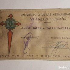 Documentos antiguos: CARNET NACIONAL CONSEJO DIOCESIANO DE MADRID MOVIMIENTO DE LAS HERMANDADES DEL TRABAJO . Lote 147900618
