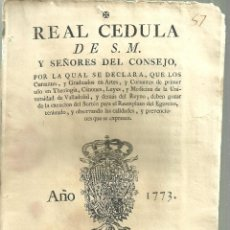 Documentos antiguos: 3769.- REAL CEDULA DE S.M - EXENCION DE EJERCITO PARA THEOLOGIA-ARTES UNIVERSIDAD DE VALLADOLID. Lote 148203862