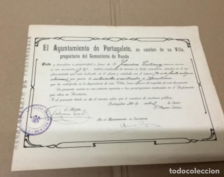 ANTIGUO DOCUMENTO COMPRA TUMBA EN EL CEMENTERIO (Coleccionismo - Documentos - Otros documentos)