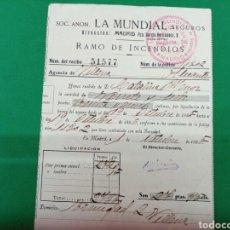 Documentos antiguos: RECIBO DE LA MUNDIAL SEGUROS RAMO DE INCENDIOS 1935. Lote 148220096