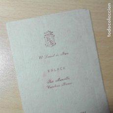 Documentos antiguos: MENU ENLACE BODA 1961 - EL LAUREL DE BACO MADRID - JOSE MANSILLA CATALINA RAMOS. Lote 148247522