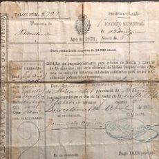 Documentos antiguos: BARCELONA. COLECCIÓN 24 CÉDULAS AÑOS DIFERENTES. Lote 148556897