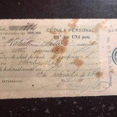 Documenti antichi: ESPARRAGUERA. CÉDULA 1899. Lote 148557577