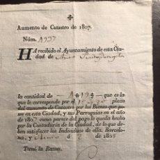 Documentos antiguos: BARCELONA. 1808. IMPUESTO CATASTRO. Lote 148558186